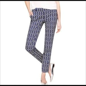 J crew blue white patterned cafe Capri